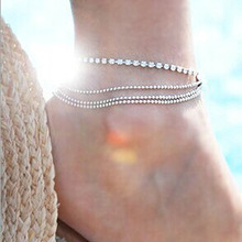 2016 New Korean Fashion Retro Charm Anklet Foot Decorated With Silver Multilayered Metal Beads Crystal Anklet Wholesale