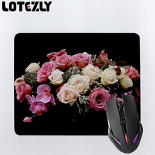 Beautiful Roses Orchids Flowers Bunch Black Background Mousemat Non-Slip Rubber MousePad Computer Mouse pad Play Mat