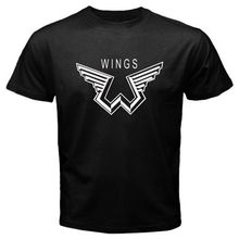 Gildan New Paul McCartney Wings Logo Music Legend Men's Black T-Shirt Size S to 3XL men's t-shirt