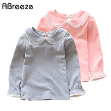 Abreeze New children T-shirts for girls spring autumn cotton girls clothing pink white kids Tee solid girls long sleeve shirts