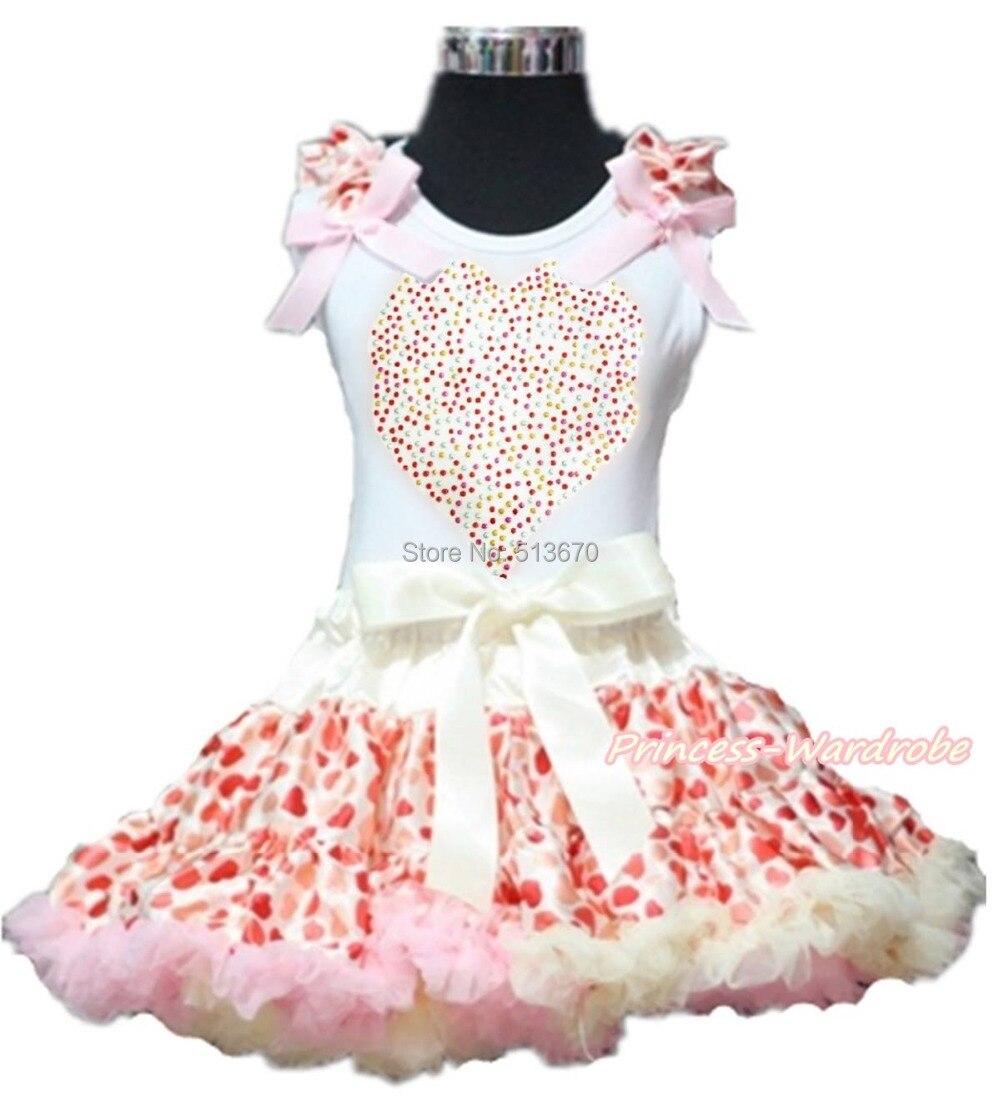 Valentine Rhinestone Heart Pink Bow White Top Beige Hearts Girl Pettiskirt 1-8Y Set 1-8Y MAPSA0195<br>