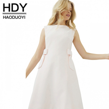 Buy HDY Haoduoyi 2017 Fashion Sleeveless Dress Women Casual Cute Bow Women Clothing Preppy Elegant O-neck Female Summer Mini Dress for $13.99 in AliExpress store