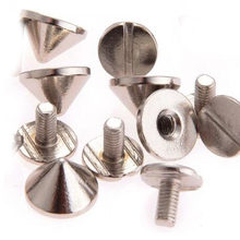 Useful 10pcs 9.5x6mm Gun Bullet Studs And Spikes For Clothe Punk Garment Rivets Cone Studs DIY Garment Rivets For Leather