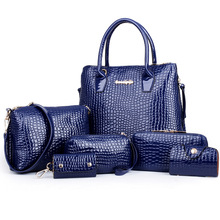 6 Bag/Set New Ladies Handbag Brand Designer Women Bag Alligator Pattern Fashion Female Bags Shoulder Bags Best Gift