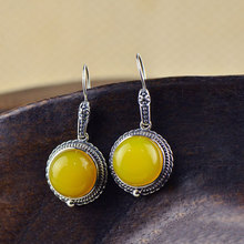 925 Silver Earring Women Natural Yellow chalcedony Vintage S925 Thai Sterling Silver boucle d'oreille Drop Earrings(China)