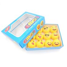 12Pcs/1 Box golf ball Emoji Faces Novelty Fun Golf Balls lovely face pattern golf ball with Gift box(China)