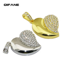 QIFANE 32GB 64G Metal jewelry U Disk crystal diamond pen drive 4G 8G 16G Jewellery USB Flash Drive memory stick Free shipping