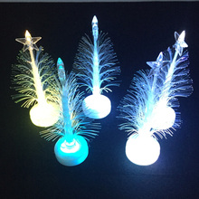 2017 Promotion Glow Stick 100pcs/lot Mini Led Christmas Tree Night Light Lamp Colors Changing Party Decor Xmas Trees Supplies(China)