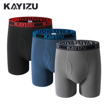 KAYIZU 3 Pieces Men Underwears Solid Cotton Boxers Plus Size Men Underwear Comfortable Boxer Shorts Male Panties Underpants(China)