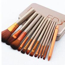 12Pcs/Lots Professional Makeup Brushes Set Repair Capacity Brush Kits Eyeshadow Blusher Cosmetic Brushes Tool Metal Box Case