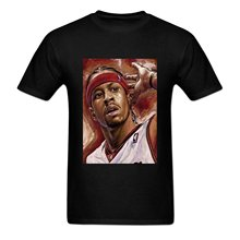 Fashion Men Summer T-shirt Printed T-shirt Men's Allen Iverson Cotton Short Sleeve Shirt