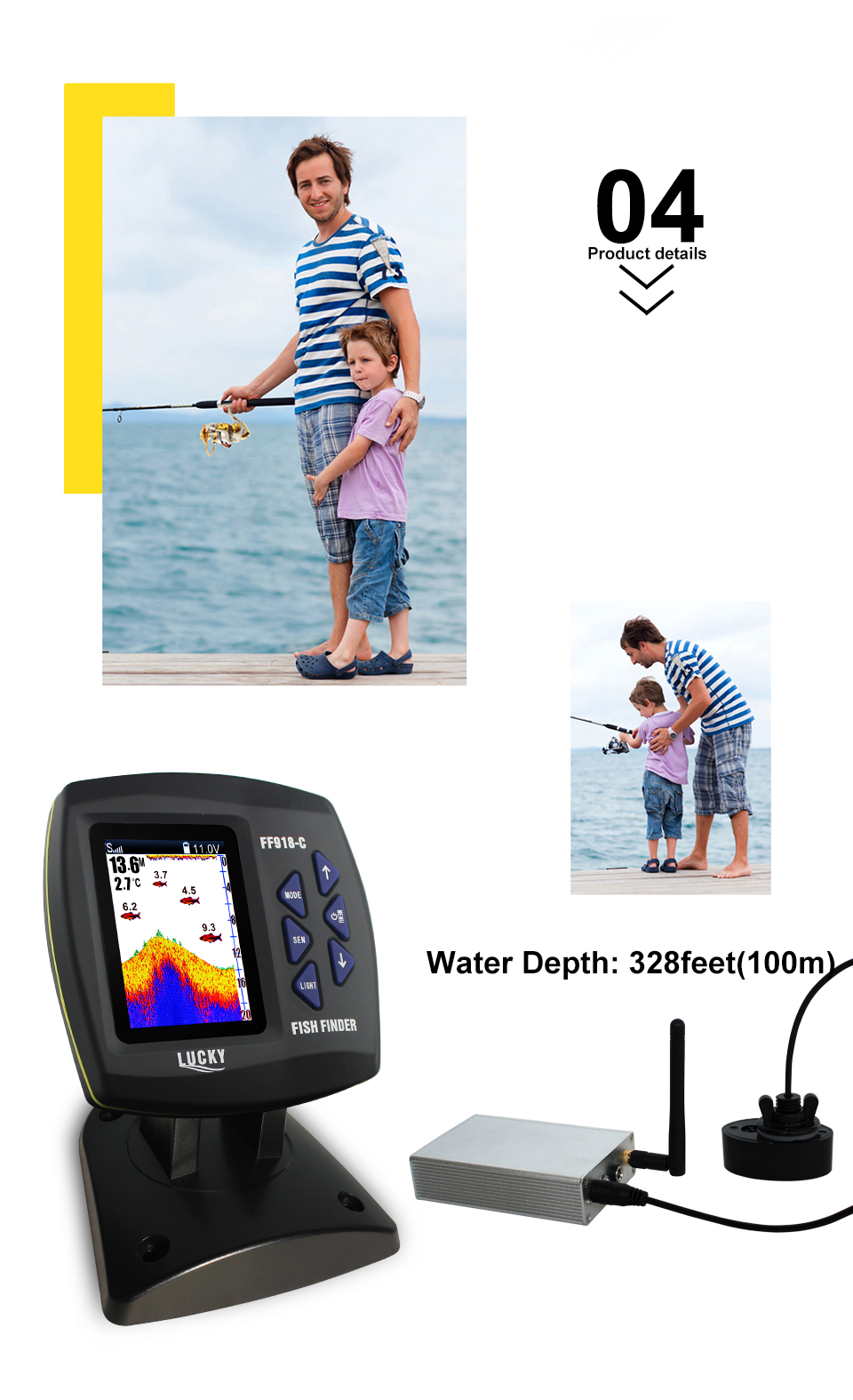 Fish Finder Lucky FF918-CWLS 3.5 LCD Boat Fish Finder wireless Underwater Detector Camera For fishing operating range 300m Depth Range 100M (5)