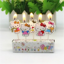 5Pcs Birthday wedding Cake Candles hello kitty Lovely Cartoon Birthday Cake Candles Assorted Colored Flames Safe Taper