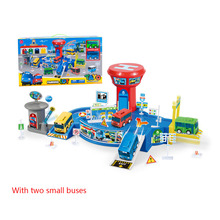 Tayo Bus TAYO Bus Parking Lot Garage Distribution Two Buses Toy Car Tayo The Little Bus Model Kids Oyuncak Kids Birthday Present(China)