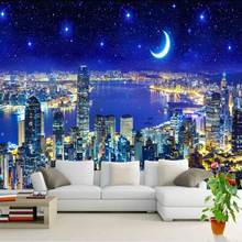Modern Night City Wall Mural Wallpaper Roll 3D Stereo Office Living Room Wall Papers Wall Coating Home Decor With European Style