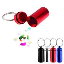 Hot item! Small Tablets Holder Pill Case First Aid Container with Key Ring Key Chain