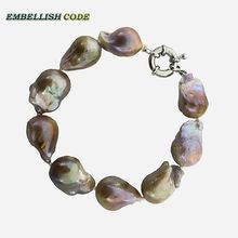 large size purple golden Bracelet tissue nucleated flame ball shape baroque keshi pearls real freshwater natural pearls special