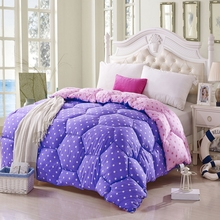 2017 winter comforter dot pattern king size quilt thick duvet pink purple queen size soft warm elegant comfortable home textile