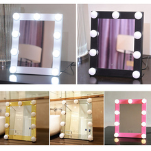 Hot sale Vanity Lighted Hollywood Makeup Mirrors with Dimmer Stage Beauty Mirror LED Bulb for Gift makeup bag(China)
