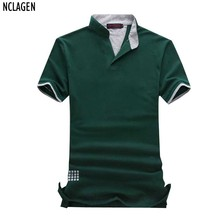 NCLAGEN Plus Size 6XL 7XL New Men Short Sleeve Brand Polo Shirts Solid  V Neck Casual Slim Fit Summer Autumn Top Tees Shirt