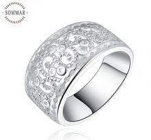 2017 Hot Wholesale Price silver Ring  sterling Hollow out sand flowers gift jewellery unique style unisex women 925