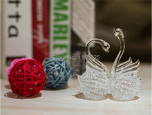 1PC Longming Home Conjoined Love Swan Crystal Wedding Gift Transparent Blown Glass fashion home accessories modern crafts OJ 209