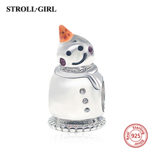 StrollGirl 925 Sterling Silver Cute Orange Hat Snowman Charms Beads Fit Original charm Charm Bracelet Authentic Jewelry Gifts(China)