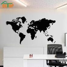 DCTOP Modern House Decoration PVC Removable School Office Map Wall Sticker Map Of The World Hollow Out For Wall Decor Decals(China)