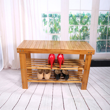 Shoe Lasts 2 Tier Shoe Shelf Natural Bamboo Shoe Rack Bench Storage Organiser Holder 70 x 28 x 45cm Shoe Holder(China)