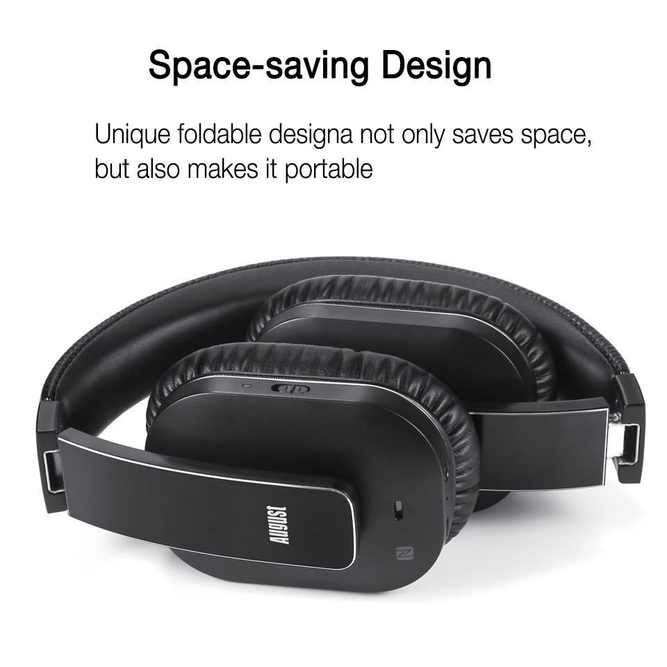 August EP750 Portable Bluetooth Wireless Headphones with Mic