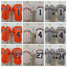 Youth 34 Nolan Ryan 27 Jose Altuve 4 George Springer Jersey White Orange Gray