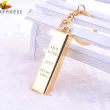 1pc Metal Gold Bar Golden Brick Keychain Creative Keyfob Keyring Gift free shipping(China)