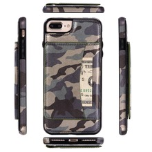 Leather  Camo Camouflage case for iPhone 6 6S 6 plus 5 5S SE 7 7plus Pattern PU Leather Wallet Case protective phone cases