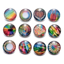 12pcs/lot Creative Colorful Pencil Pattern Charms 18mm Glass Snap Button For DIY Charms Bracelet 18mm Snaps Jewelry KZ0201