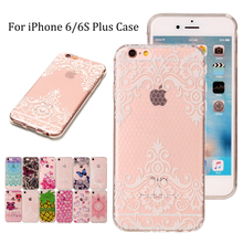 For iphone 6/6S Plus TPU Phone Case For Apple iPhone 6 Plus Fashion Lace Butterfly Flower Unicorn Soft Silicone Back Shell Cover(China)