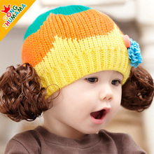 Baby Girl Wig Knitted Children 's Hat Autumn And Winter;Newborn Props Baby Hats For Girls Crochet Hat Neonato 10pcs/lot MZ2996