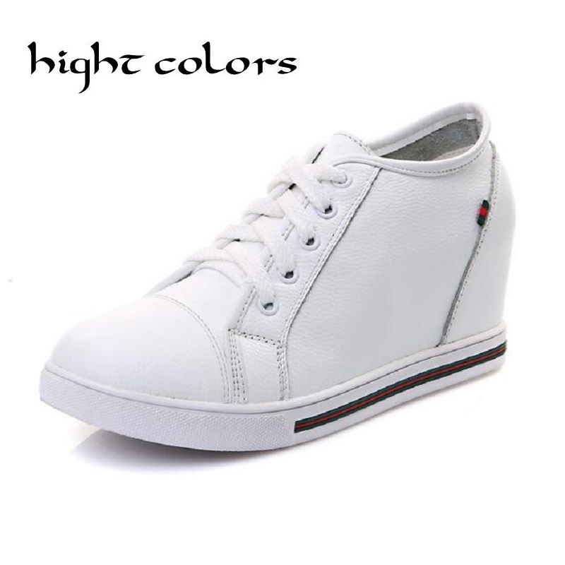 Hot-Selling !Black+White Women Genuine Leather Shoes Woman Fashion Hidden Wedge Heel Lace Up  Casual Shoes Size32-40<br><br>Aliexpress
