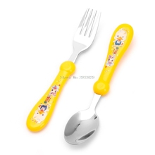2Pcs/Set Lovely Baby Kids Feeding Spoon Fork Stainless Steel Baby Spoon Flatware -B116