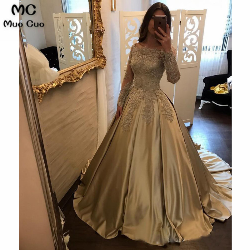 Off Shoulder Long Sleeve Gold A line Sparkly Evening Prom Dresses, Popular Sweet 16 Party Prom Dresses, Custom Long Prom Dresses5