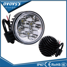 OVOVS 12v 24v truck light wholesale price round 12w work led light for tractor 4x4 truck ATV offroad