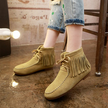 Autumn and Winter Women's Shoes Full Grain Leather Boots Fringed Female Boots Tassel Women's Ankle Boots