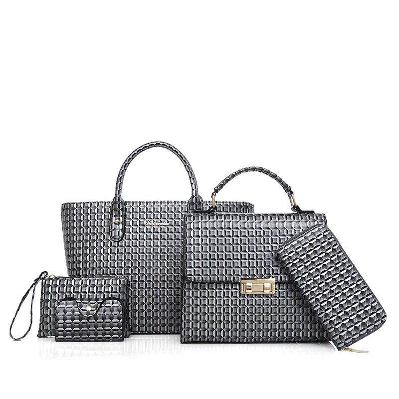 Famous  lady Bag Top-Handle Bags 2018 Fashion Women Messenger Bags Handbag+Wallet Set PU Leather Composite Bag<br>