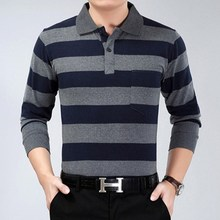 Hot Sale 2017 spring autumn Business Men Polo Shirt Fashion Good Quality Classic Striped Homme Camisa long sleeve polo(China)
