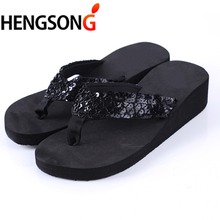 fashion women Flip Flops Mujer Women Sequins Sandals Beach Slippers Shoes Summer Sandals Flip Flops Lady Wedges Shoes(China)