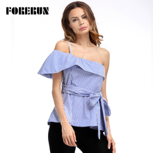 FORERUN 2017 Women One Shoulder Tops blue Striped Bow slim Tie-belt Shirts Fold Over Off Shoulder Cap Sleeve Blouses Peplum Top(China)
