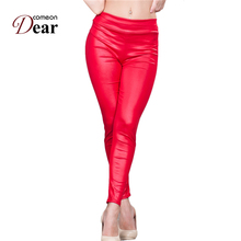 Comeondear Faux Leather Fashion Pants Womens Fitness Apparel Sportlegging Damen Leggings Cintura Alta TB207 Pantalon Femme Sexy(China)