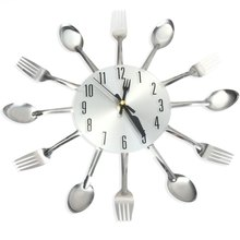 Kitchen Wall Clock Magic Spoon and Fork Analog Wall Clock Stainless Steel Modern Design Home Living Room Decoration Wall Watches(China)