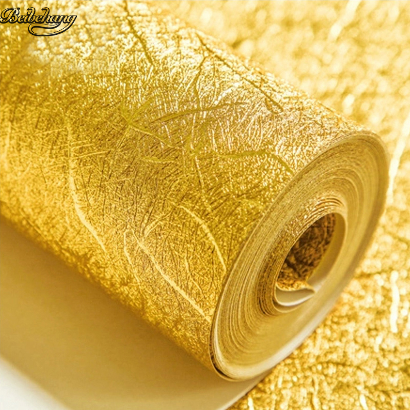 beibehang grade gold foil silver foil wall embossed wire drawing roof ceiling trough ceiling porch KTV club gold wallpaper<br>