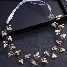 New Gold Head Chain Piece Wedding Hair Accessories Bridal Hair Jewelry Pearl Leaves Headband Headpieces For Bride(China)
