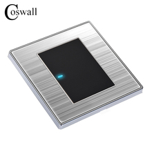 Coswall 1 Gang 1 Way Luxury LED Light Switch Push Button Wall Switch Interruptor Brushed Silver Panel 10A AC 110~250V